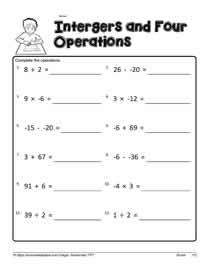 Integer Worksheet 3