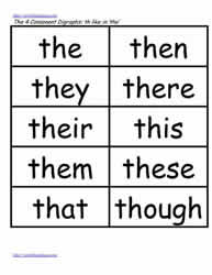 Th word study lists, the, then, this etc.
