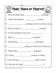 Their, there, they're worksheets Worksheets