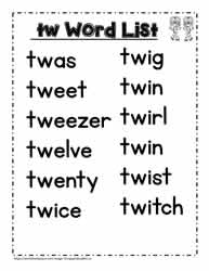 A tw Spelling List