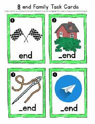 end Word Family Task Cards