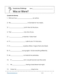 Was And Were Worksheets